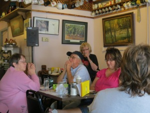 A book reading at Stuart's brother's restaurant, Aug. 2013.